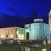Roman Forum And St Donatus Church At Night Zadar Croatia Poster