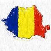 Romania Painted Flag Map Poster