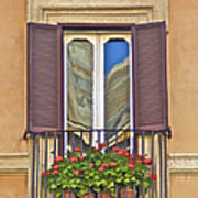 Romantic Balcony With Red Flowers In Rome Poster