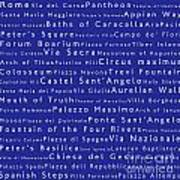 Rome In Words Blue Poster