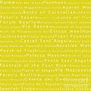 Rome In Words Yellow Poster