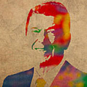 Ronald Reagan Watercolor Portrait On Worn Distressed Canvas Poster