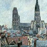 Roofs Of Old Rouen Grey Weather  Poster