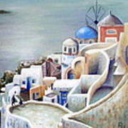 Rooftops And Terraces Of Santorini Island In Greece Poster