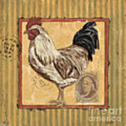 Rooster And Stripes Poster by Debbie DeWitt