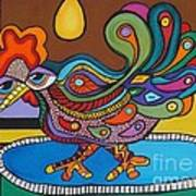 Rooster On A Platter Poster by Deborah Glasgow