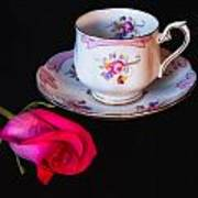 Rose And Tea Cup Poster
