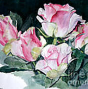 Watercolor Of A Pink Rose Bouquet Celebrating Ezio Pinza Poster