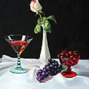Rose Wine And Fruit Poster