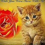 Roses And Kittens Textured Poster