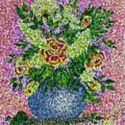Roses And White Lilacs Lacy Bouquet Digital Painting Poster