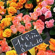Roses At Flower Market Poster