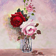 Roses In Glass Poster