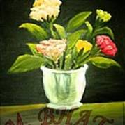 Roses In Marble Pot Poster