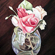 Roses In The Glass Vase Poster