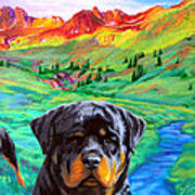 Rottweiler Dogs Landscape Painting Bright Colors Poster