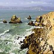 Rough Californian Shore Near San Francisco Ca Cliff House 2 Poster