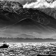 Rough Seas Kaikoura New Zealand In Black And White Poster