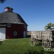 Round Barn Wooden Wagon Poster