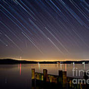 Round Bay Startrails And A Meteor Shower Poster by Benjamin Reed