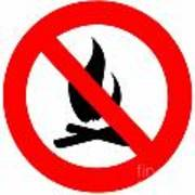 Round Fire Ban Sign Symbol Isolated On White Poster