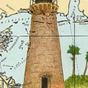 Round Island Lighthouse Ms Nautical Chart Map Art Poster