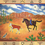 Round Up And Cattle Brands Poster