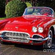 Route 66 - 1961 Corvette Poster
