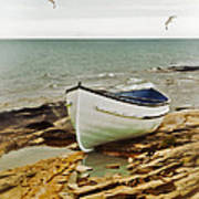 Row Boat On Rocky Shore Poster