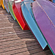 Row Of Colorful Boats Art Prints Poster