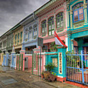 Row Of Historic Colorful Peranakan House Poster
