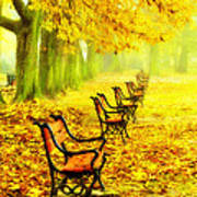 Row Of Red Benches In The Park Poster by Jaroslaw Grudzinski