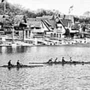 Rowing Along The Schuylkill River In Black And White Poster