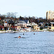 Rowing At Boathouse Row Poster