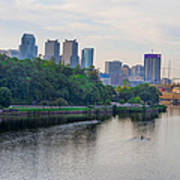 Rowing On The Schuylkill Riverwith Philadelphia Cityscape In Vie Poster