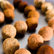 Rows Of Chocolate Truffles On Silver Poster