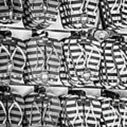 Rows Of Flip-flops Key West - Black And White Poster