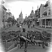 Roy And Minnie Mouse Black And White Magic Kingdom Walt Disney World Poster