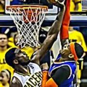 Roy Hibbert Vs Carmelo Anthony Poster by Florian Rodarte