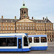 Royal Palace And Trams In Amsterdam Poster