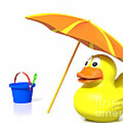 Rubber Duck At The Beach Poster