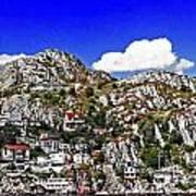 Rugged Cliffside Village Digital Painting Poster