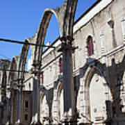 Ruins Of Carmo Convent In Lisbon Poster