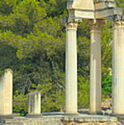 Ruins Of Roman Columns In Glanum  Poster