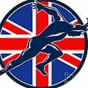 Runner Sprinter Start British Flag Circle Poster by Aloysius Patrimonio