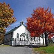 Rural Church In Autumn Poster