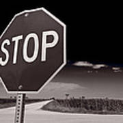 Rural Stop Sign Bw Poster