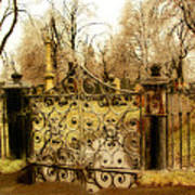 Rusted Cemetery Gate Poster