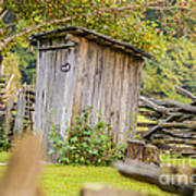 Rustic Fence And Outhouse Poster