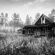 Rustic Historic Woodlea House - Black And White Poster